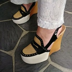 Jeffrey Campbell RARE patent leather wedge heels